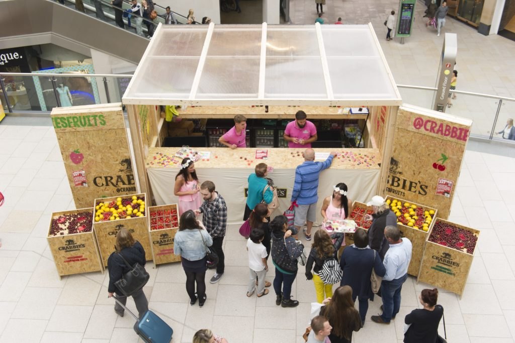 Crabbies - drink sampling to shoppers in busy shopping malls