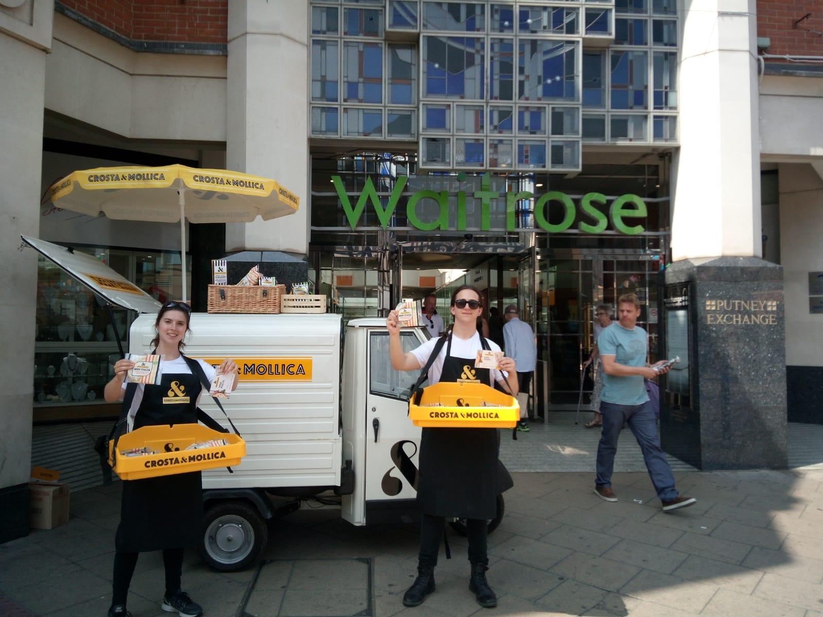Crosta & Mollica - Suburban Street Sampling at Waitrose supermarket, Waitrose marketing, Waitrose product sampling, shopper marketing agency, retail marketing agency, examples