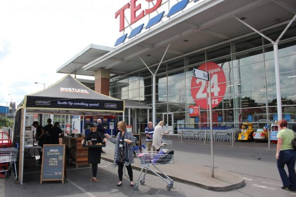 sampling Rustlers Burgers in Tesco Supermarkets