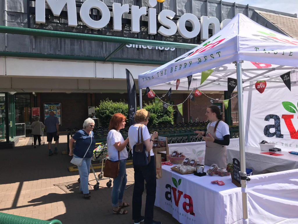 Sampling in supermarkets with AVA Berries, Morrisons marketing, shopper marketing agency, retail marketing agency, examples