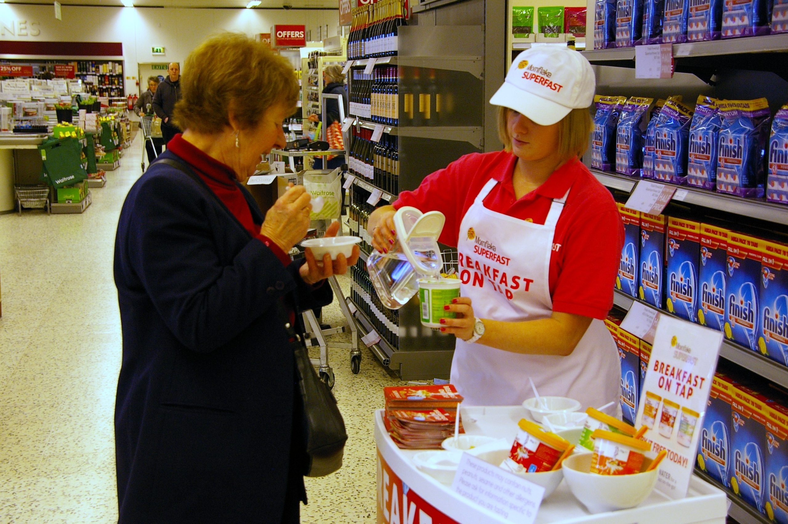 Experiential Marketing With Mornflake Superfast Cereal in Waitrose Supermarkets, shopper marketing, Waitrose shopper agency, retail marketing agency, examples