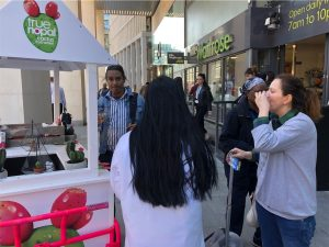 Shoppers trying sip samples of true nopal