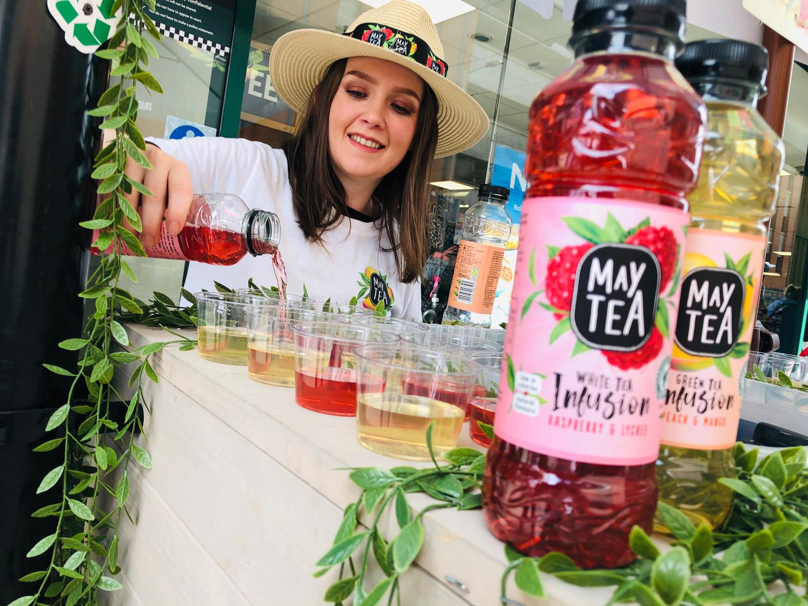 Experiential Marketing Product Sampling Maytea in front of Morrisons / BP / M&S Food & WHSmith Travel