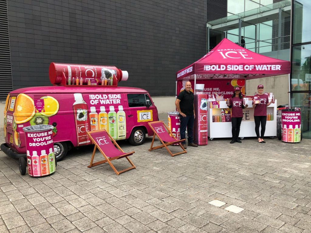 Experiential Marketing, Product Sampling shack with Sparkling ice, shopper marketing, shopper agency, experiential marketing, retail marketing agency, active campaign