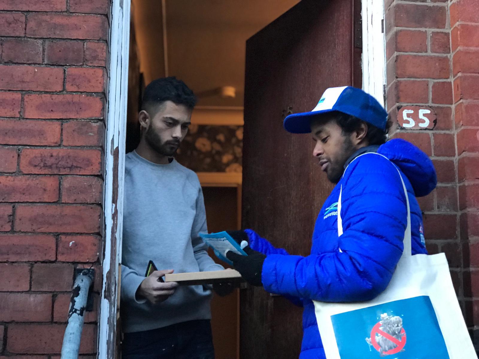 Brand ambassadors going door to door, marketing campaign, active campaign, promotion