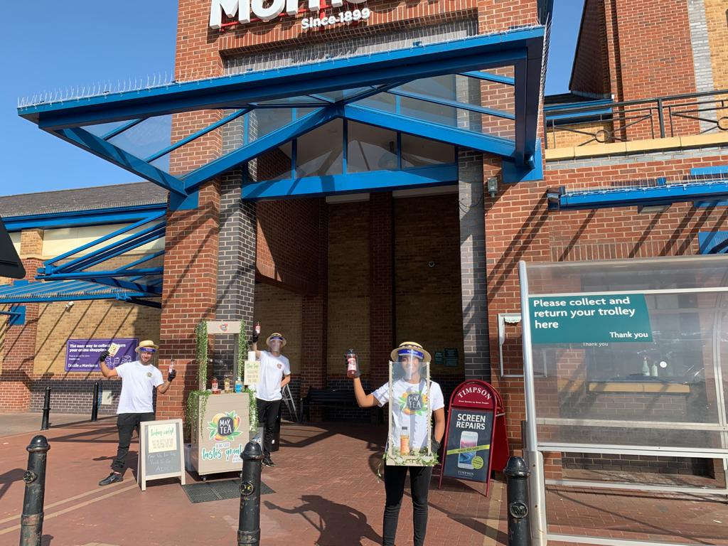 Product sampling at Morrisons with MayTea Iced Tea Farm, Covid Safe active campaign, affiliate marketing, shopper marketing