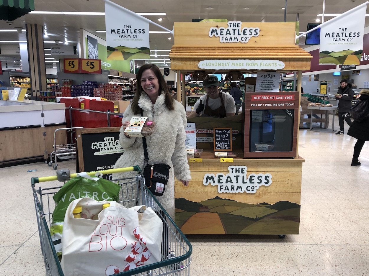 Product sampling at Morrisons with Meatless Farm, active campaign, affiliate marketing, shopper marketing